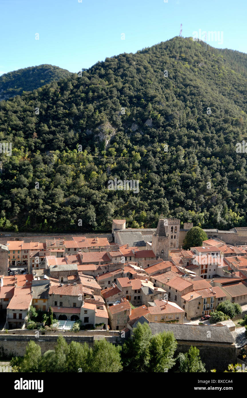 View over the Fortified Town of Villefranche-de-Confluent with Fortifications by Vauban, Pyrenees-Orientales, france - Stock Image