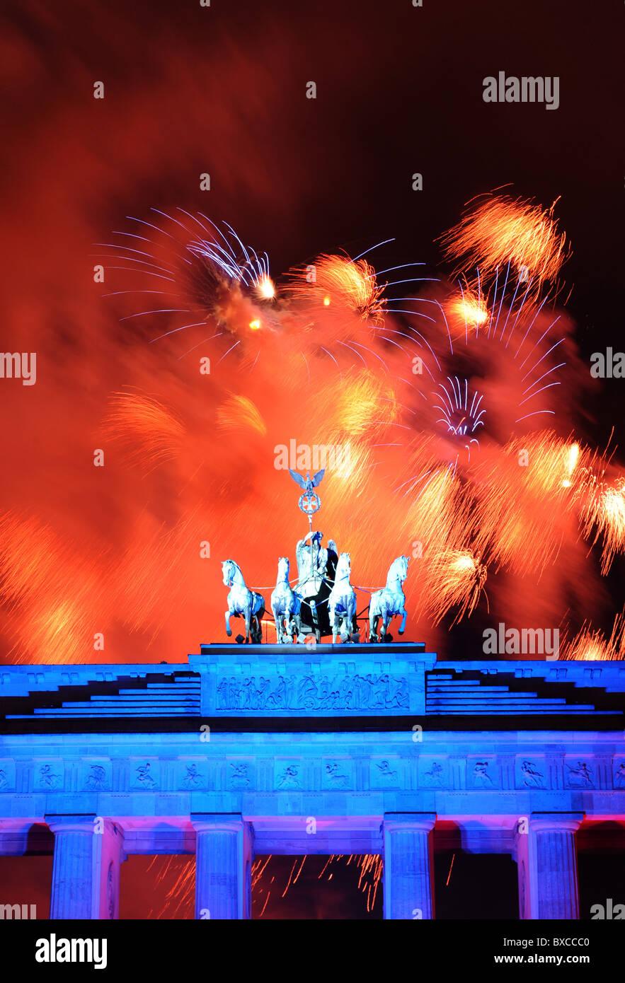 Fireworks over the Brandenburg Gate, Berlin, Germany Stock Photo