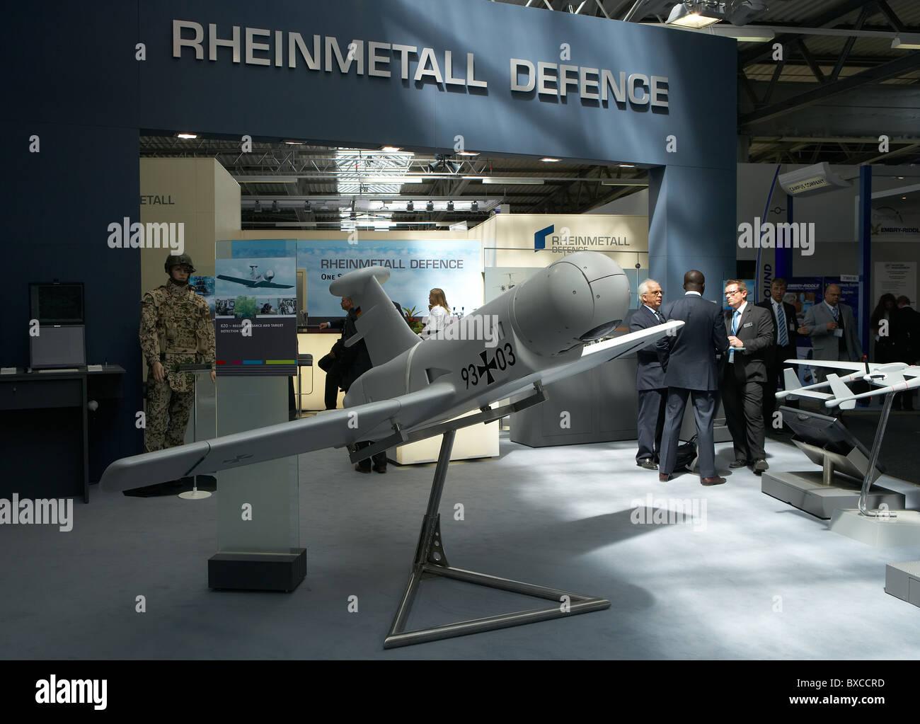 Stand of the Rheinmetall military company, Berlin, Germany - Stock Image