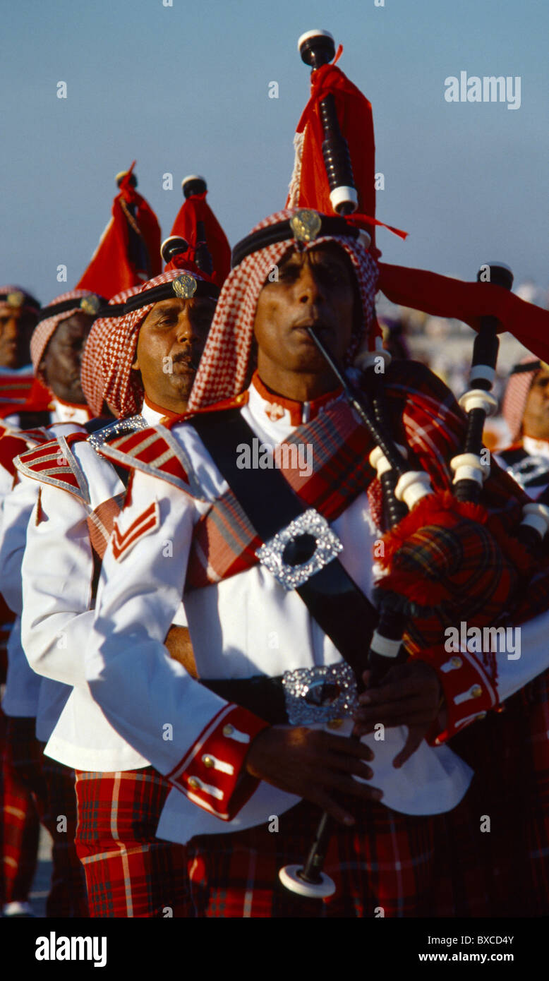 Dubai UAE Police Band (only Band To Wear Tartan Outside Scotland) - Stock Image