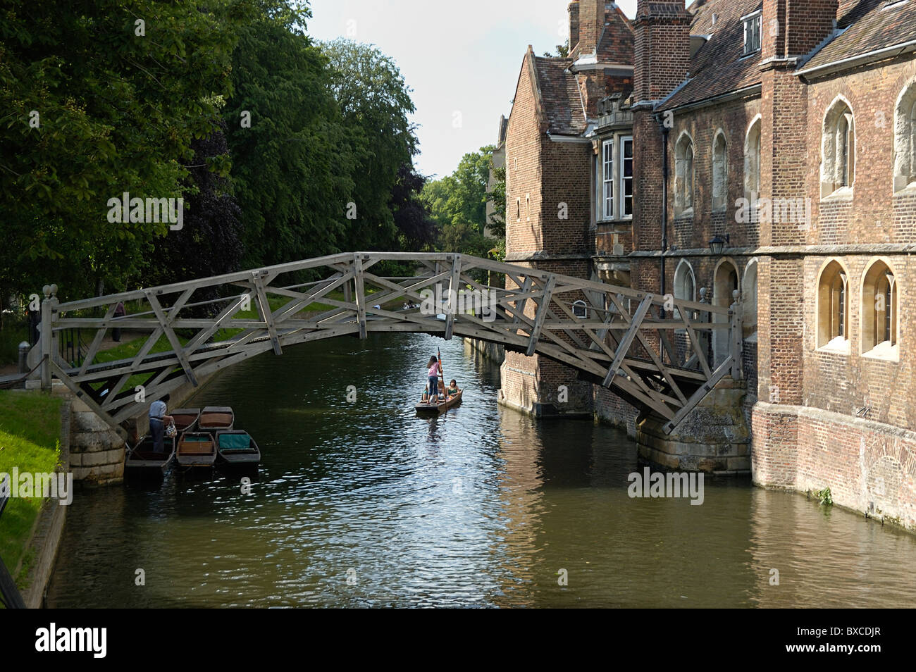 Mathematical Bridge, Punters on the Cam River; Cambridge, England; 070601_6272 - Stock Image
