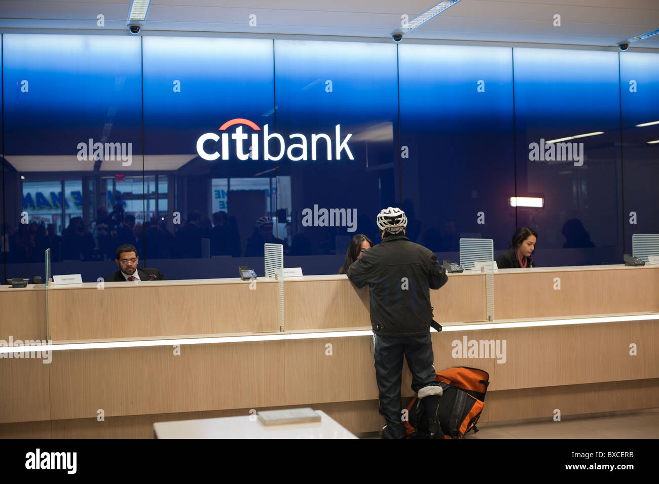 teller stations in the citibank new flagship high tech branch in the union square neighborhood of