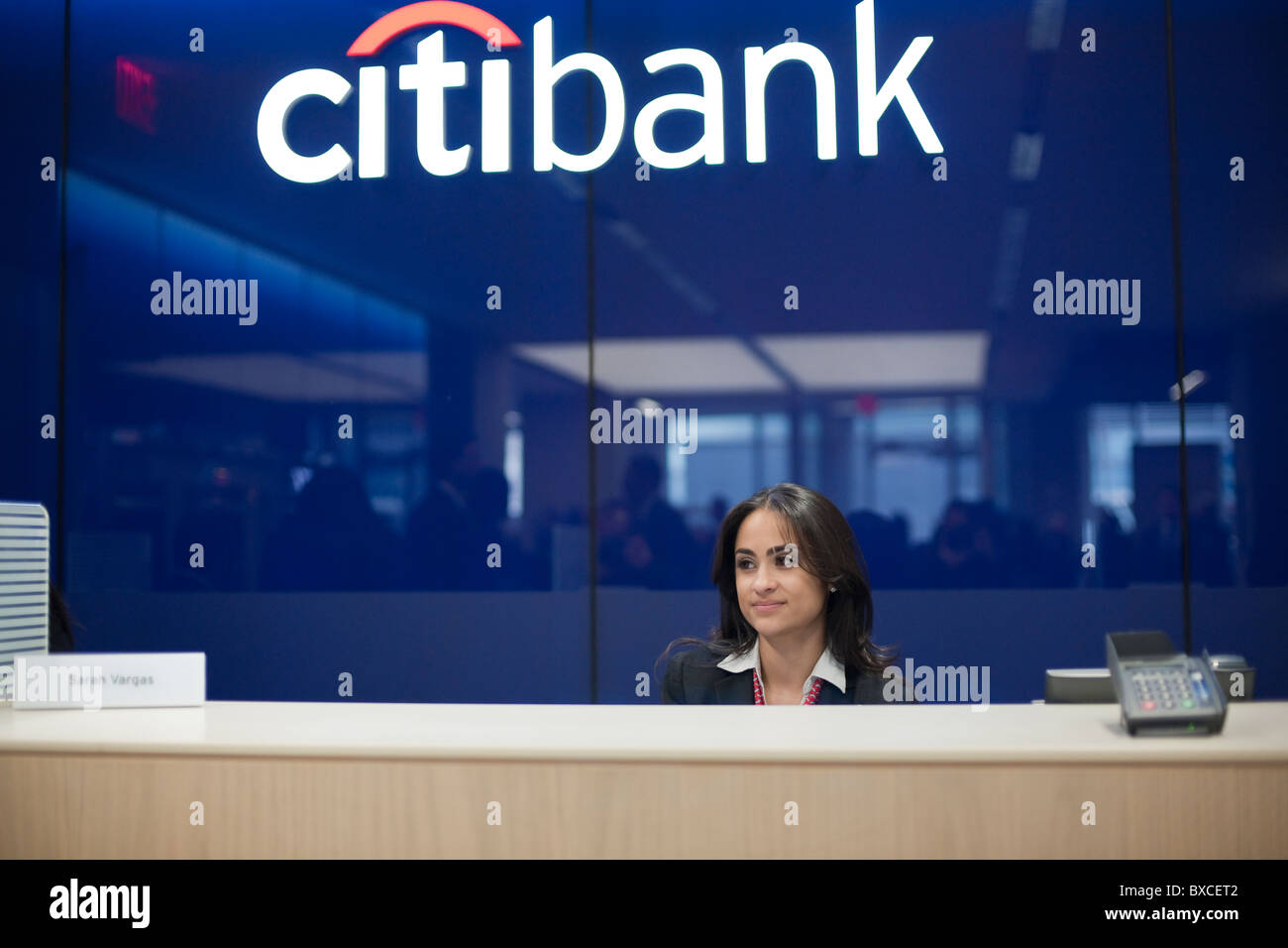 teller stations in the citibank new flagship high tech branch in the union square neighborhood of new york