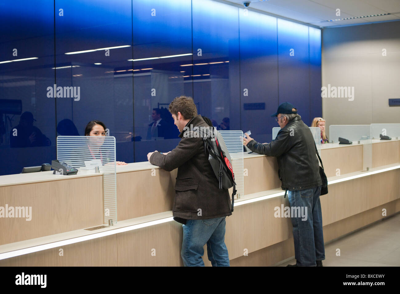 Teller stations in the Citibank new flagship high tech branch in the Union Square neighborhood of New York - Stock Image