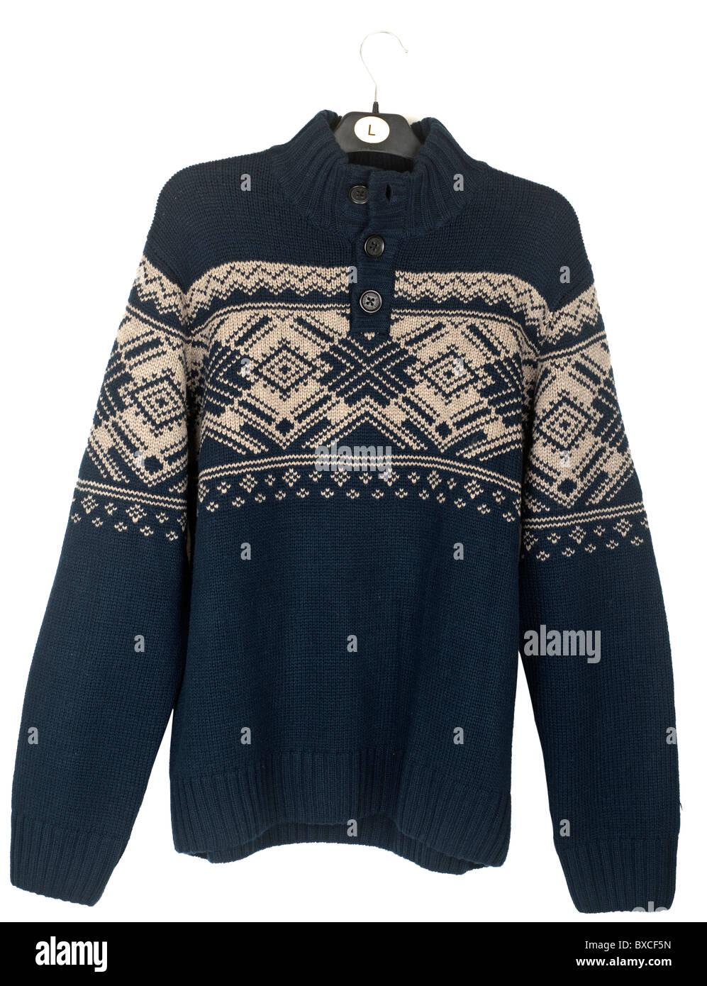 Mens large quarter buttoned blue patterned pullover - Stock Image
