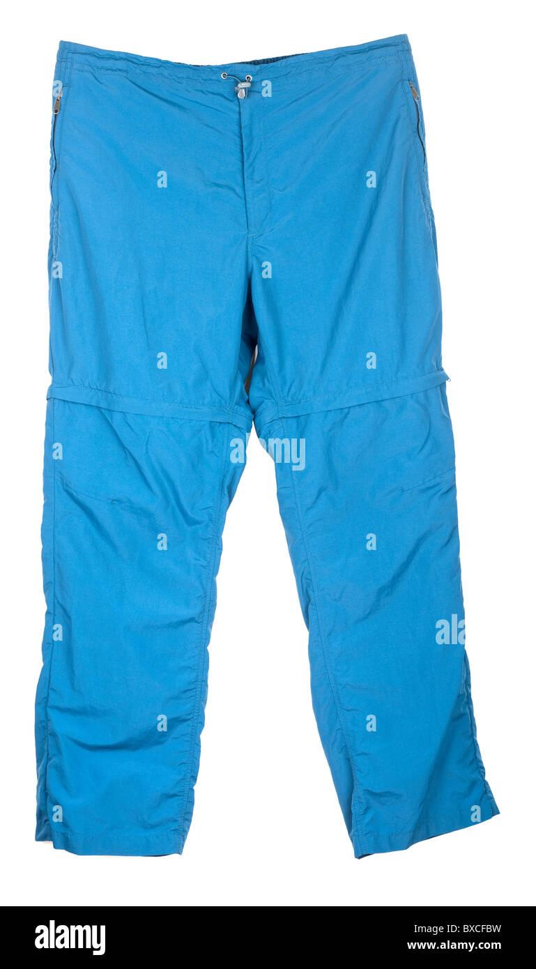 Mens Xl elasticated 42 waist light zip off leggings blue activity trousers - Stock Image