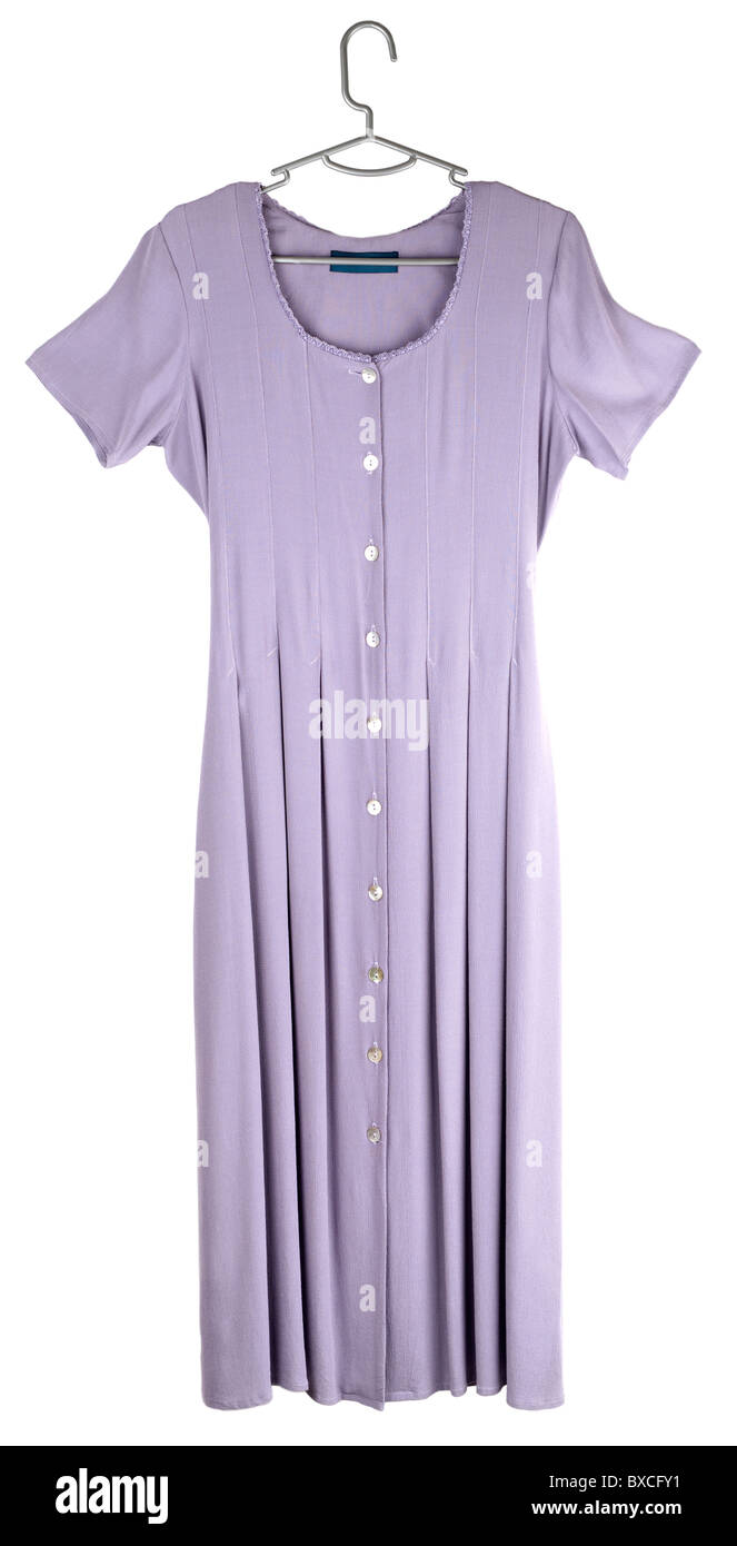Ladies size 12 mauve fully buttoned front pleated dress - Stock Image