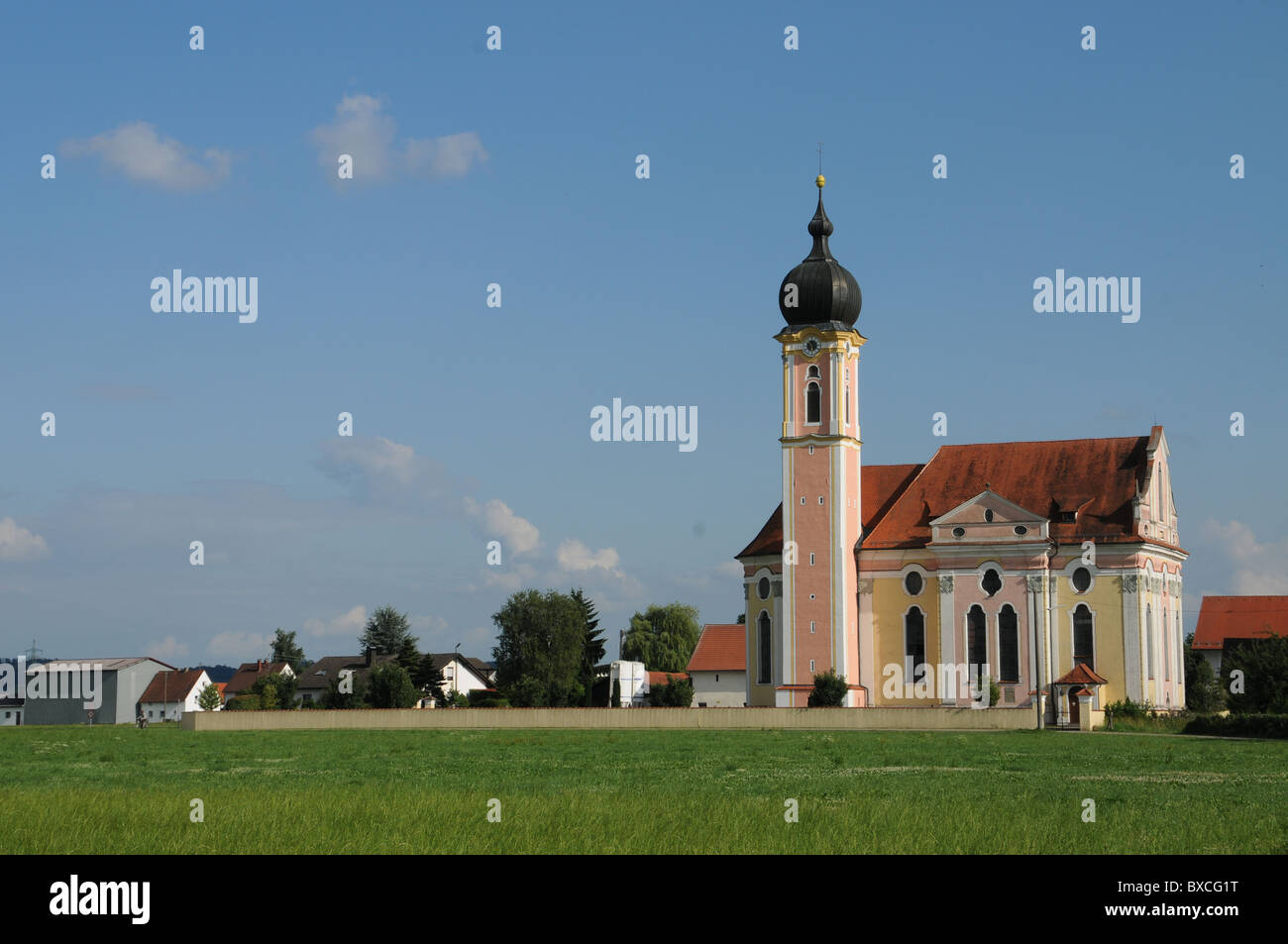 Baroque church in Pless, Bavaria - Stock Image