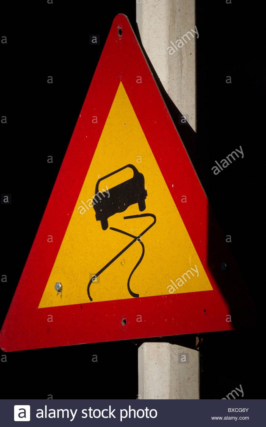 Slippery road - Stock Image