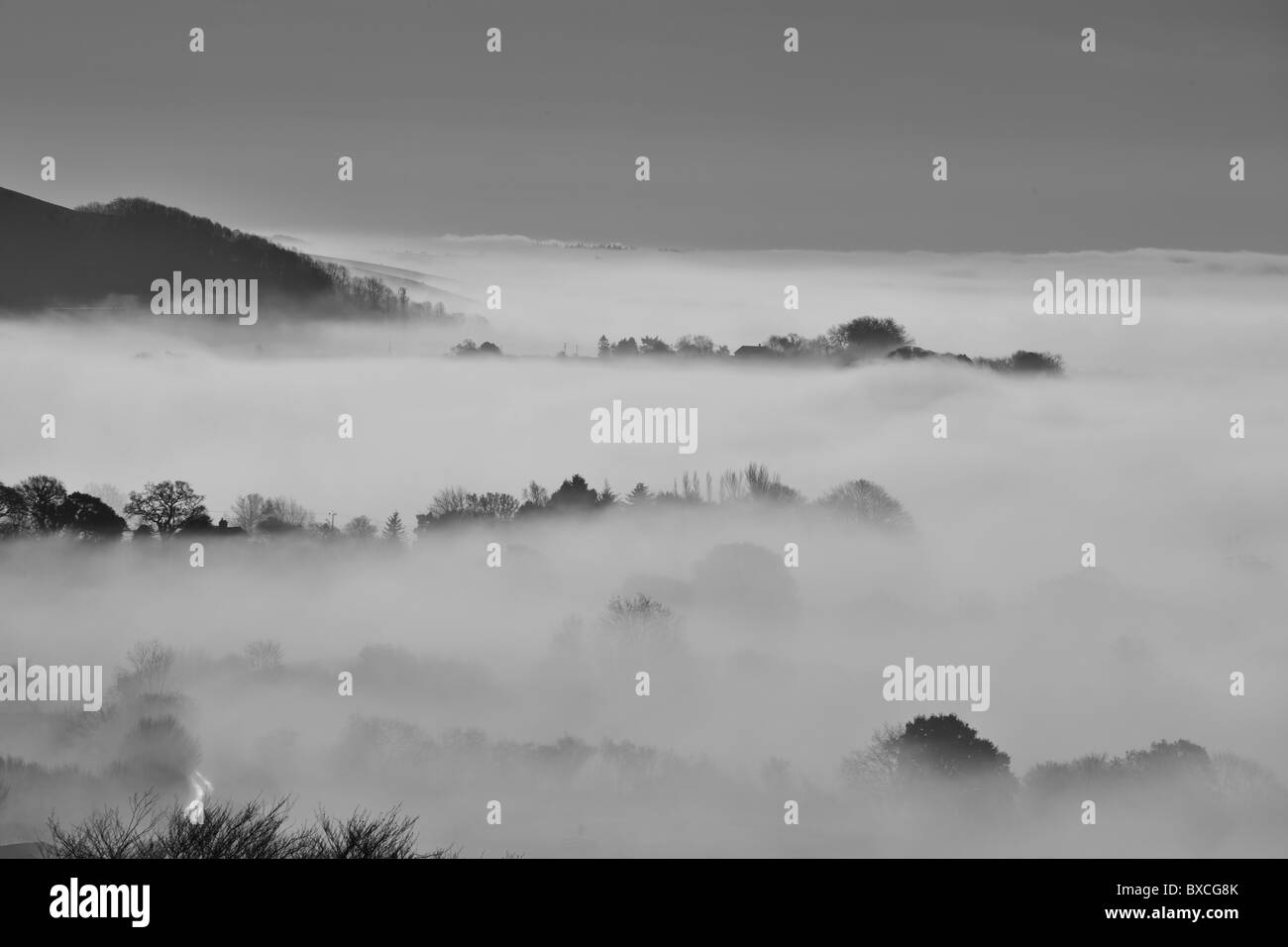 Misty December Morning at Shaftesbury in Dorset - Stock Image