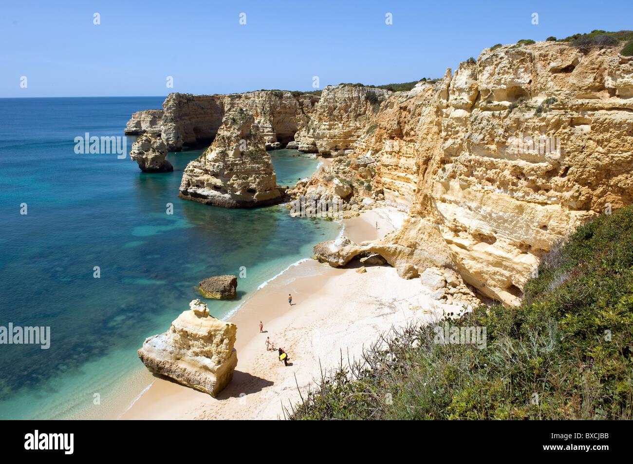 Rocks at Praia da Marinha, Armacao de Pera, Portugal - Stock Image