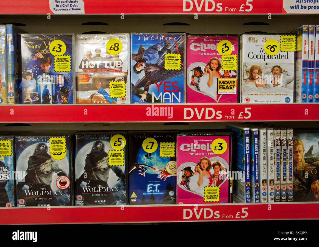 DVDS for sale in UK supermarket Stock Photo: 33469585 - Alamy