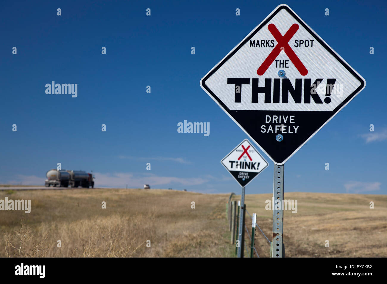 Sign Marks the Location of Traffic Fatalities - Stock Image