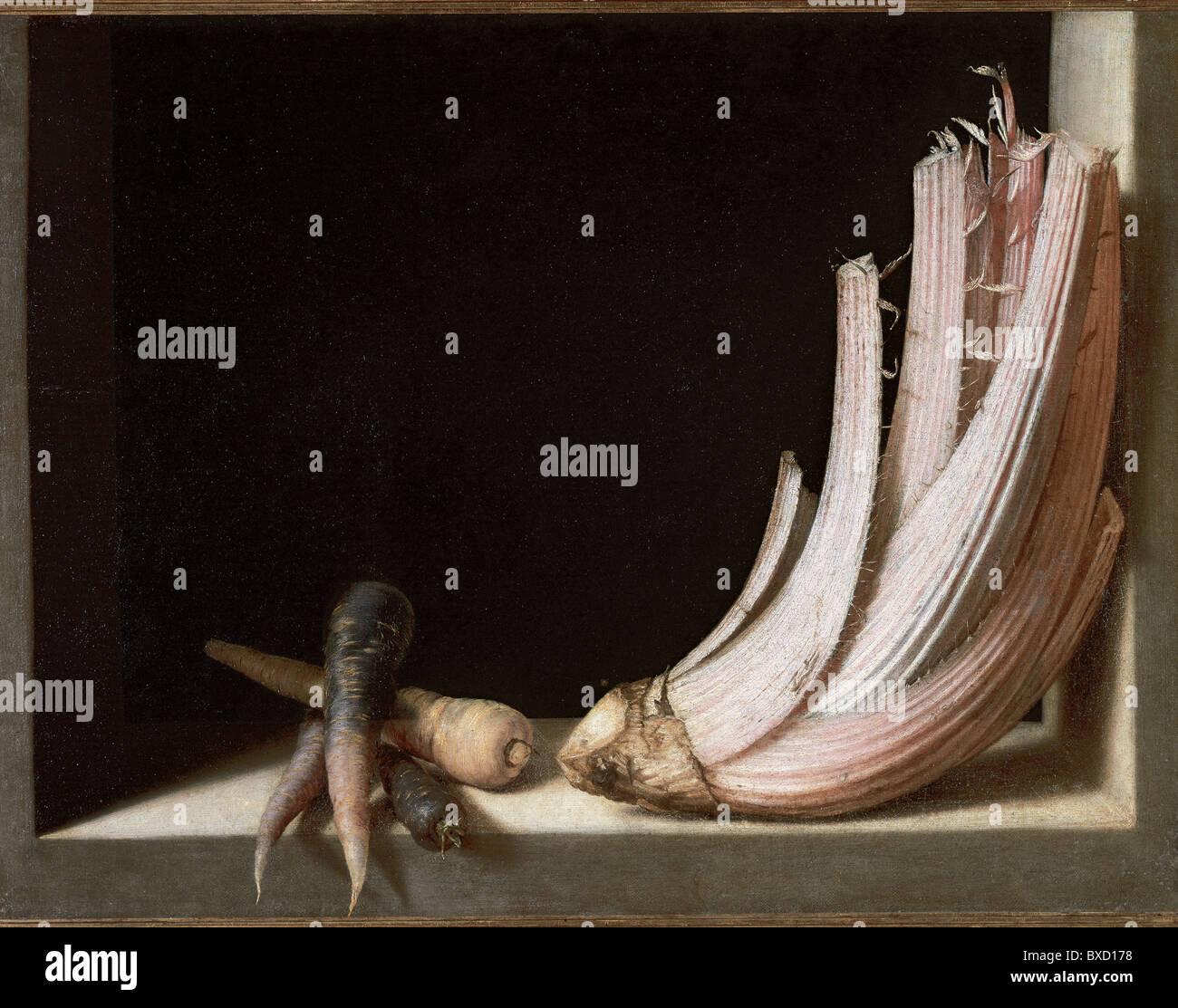 Friar Juan Sanchez Cotan (1560-1627). Spanish painter. Still Life with thistle and carrots. - Stock Image