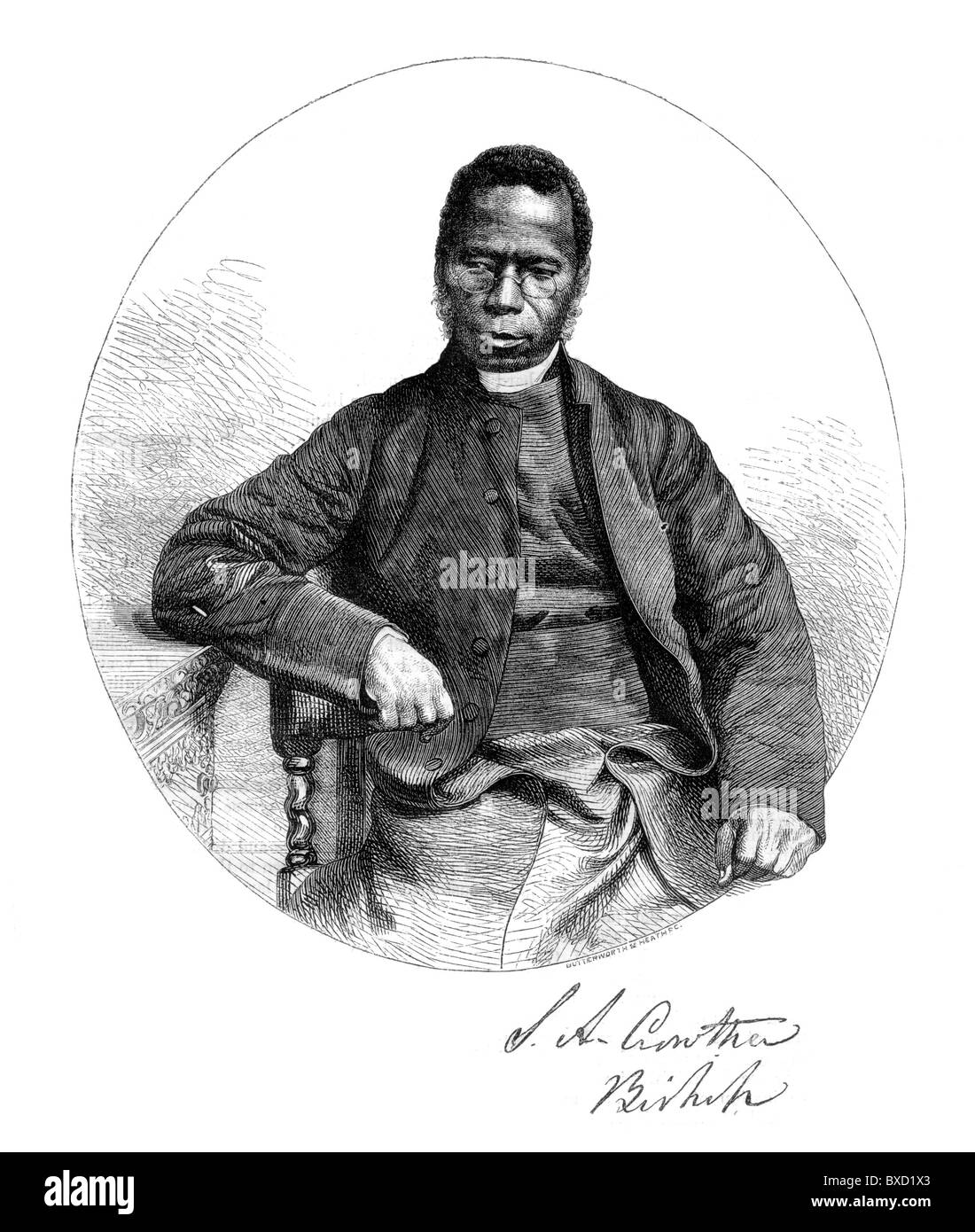 Bishop Samuel Ajayi Crowther (1801-1891) first African Anglican bishop in Nigeria; Black and White Illustration; - Stock Image