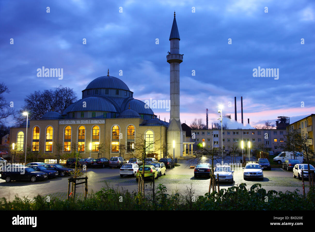 DITIB-Merkez mosque in Duisburg, Ruhr area, Germany. Biggest mosque in Germany. Run by the Turkish DITIB organization. - Stock Image