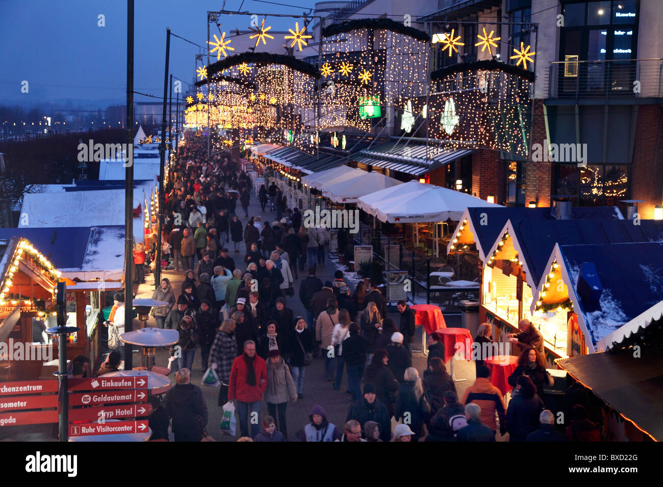 Traditional Christmas market, with many decorated booths, at Centro shopping mall, Oberhausen, Germany. Stock Photo