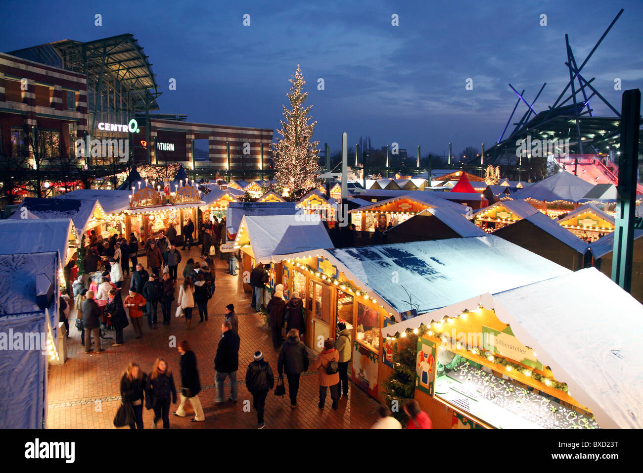 Centro Weihnachtsmarkt.Traditional Christmas Market With Many Decorated Booths At Centro