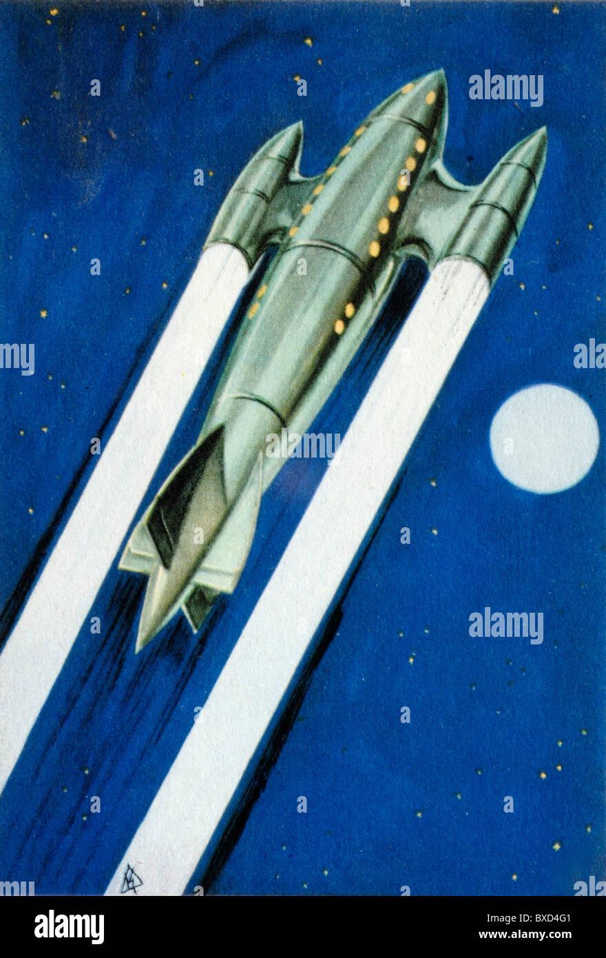 Futuristic Interplanetary Jet Plane, Jet Travel or Rocket Travel for Space Exploration (Illustration c1940) - Stock Image