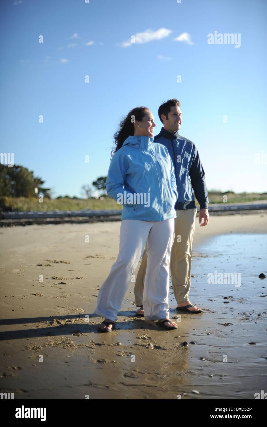 Maine Beach Couple - Stock Image