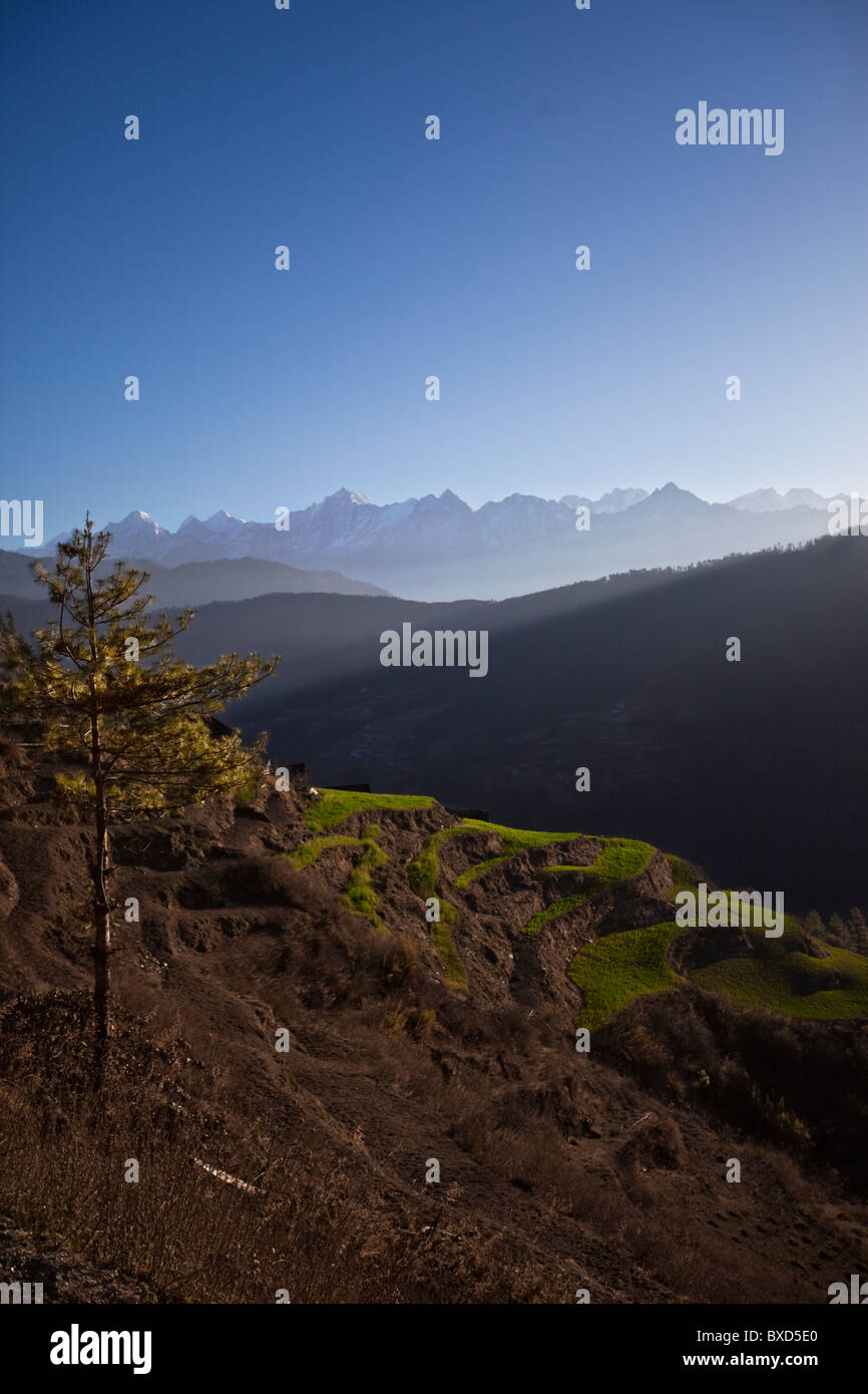 A Nepalese landscape with terraced fields and distant mountains (including Everest). - Stock Image