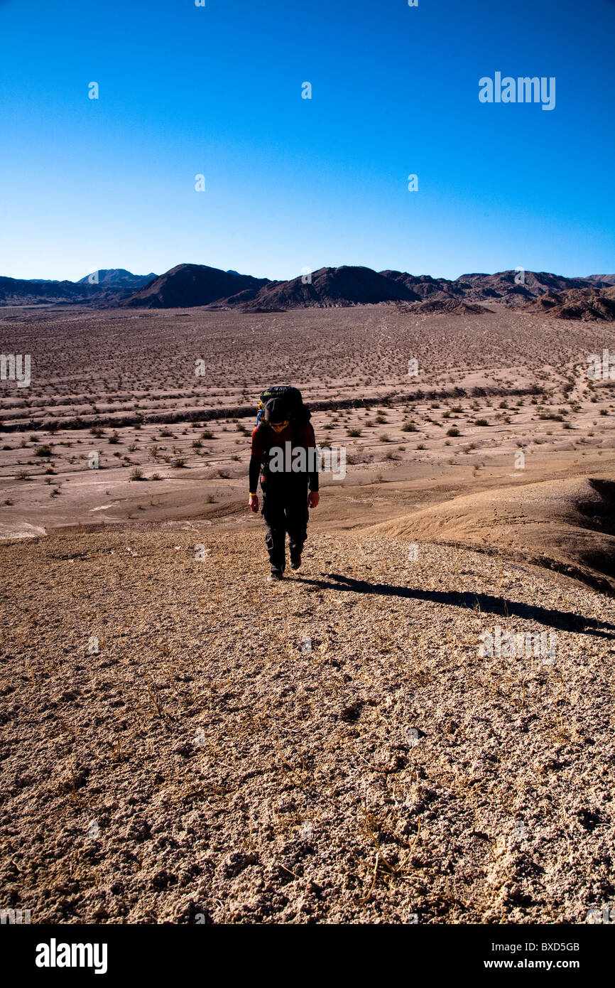 During the heat of the midday sun, a male hiker trudges through Death Valley's Confidence Hills, California. - Stock Image
