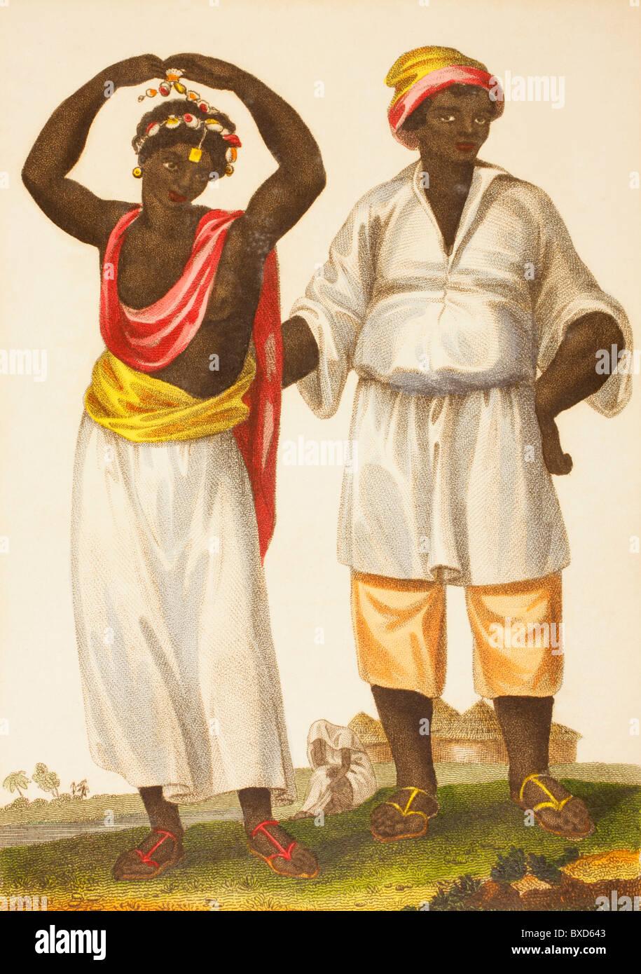 Mandinka couple of West Africa. Also known as Mandinko, Mandingo or Malinke. - Stock Image