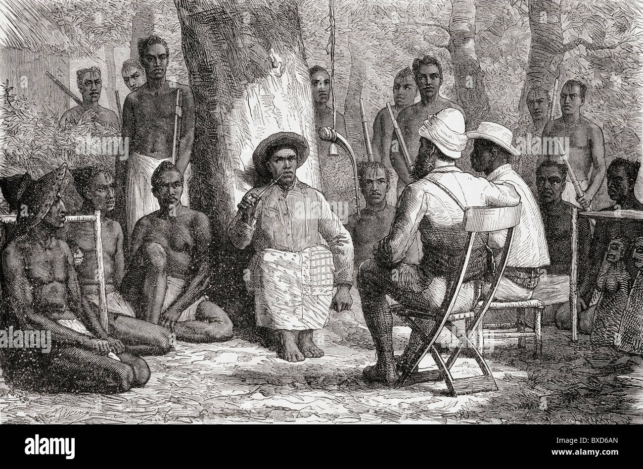 Verney Lovett Cameron visiting Katenndé, during his travels in Africa in 1872 to 1876. - Stock Image