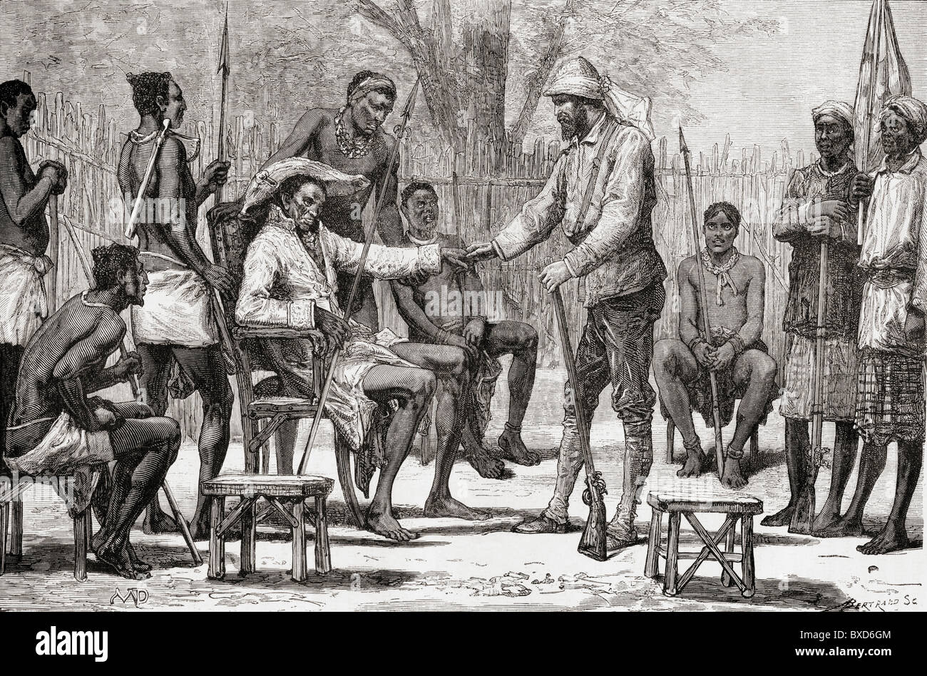 Verney Lovett Cameron visiting king Konngo, during his travels in Africa in 1872 to 1876. - Stock Image