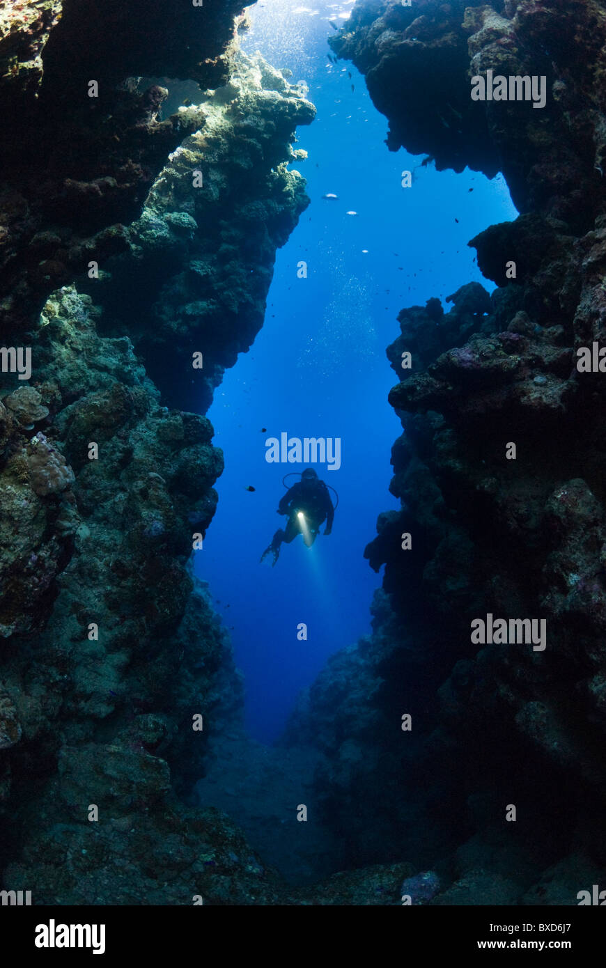 Scuba diver in the crack, The Bells, Dahab, Egypt, Red Sea Stock Photo