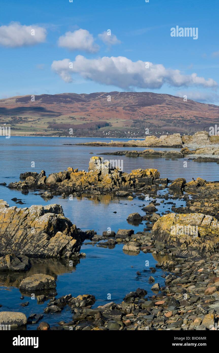 the rocky shore at Carrick, Fleet bay, Galloway - Stock Image
