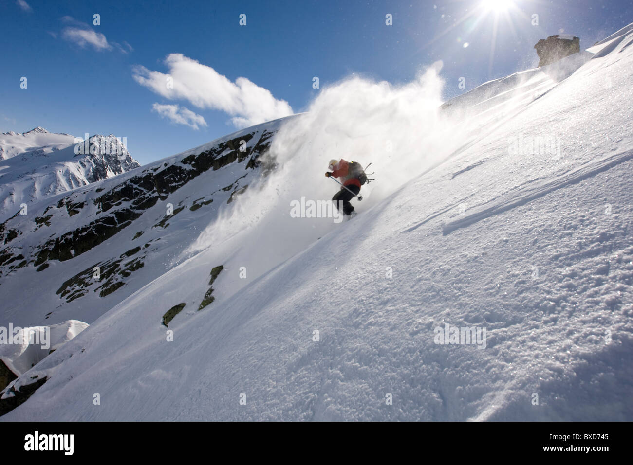 A man skiing in the Stuben, Austria backcountry. - Stock Image