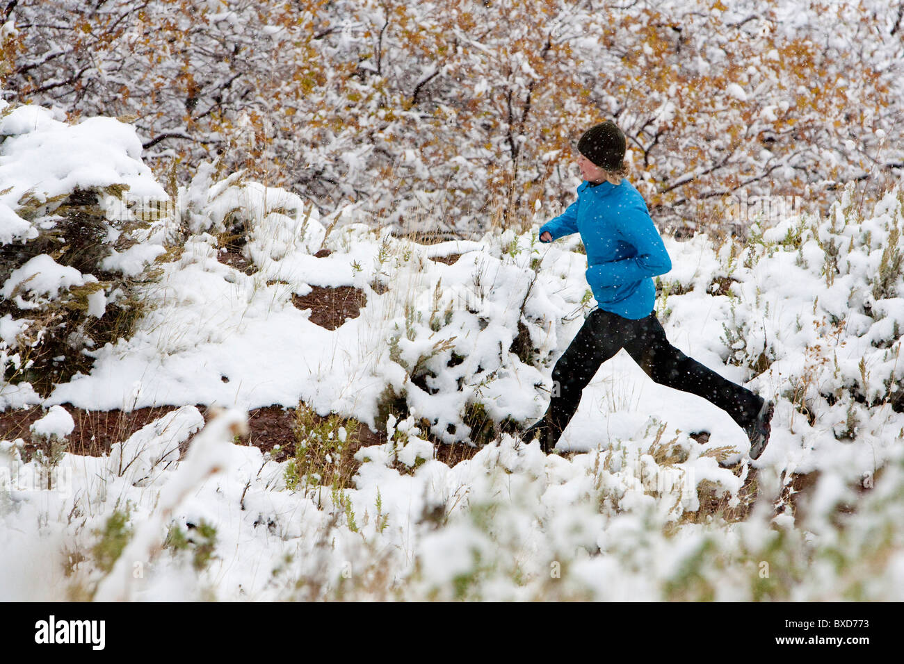 A woman out trail running after a light snowfall. - Stock Image