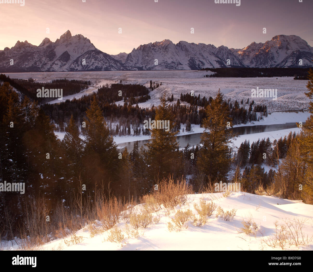 Tetons on New Year's Day - Stock Image