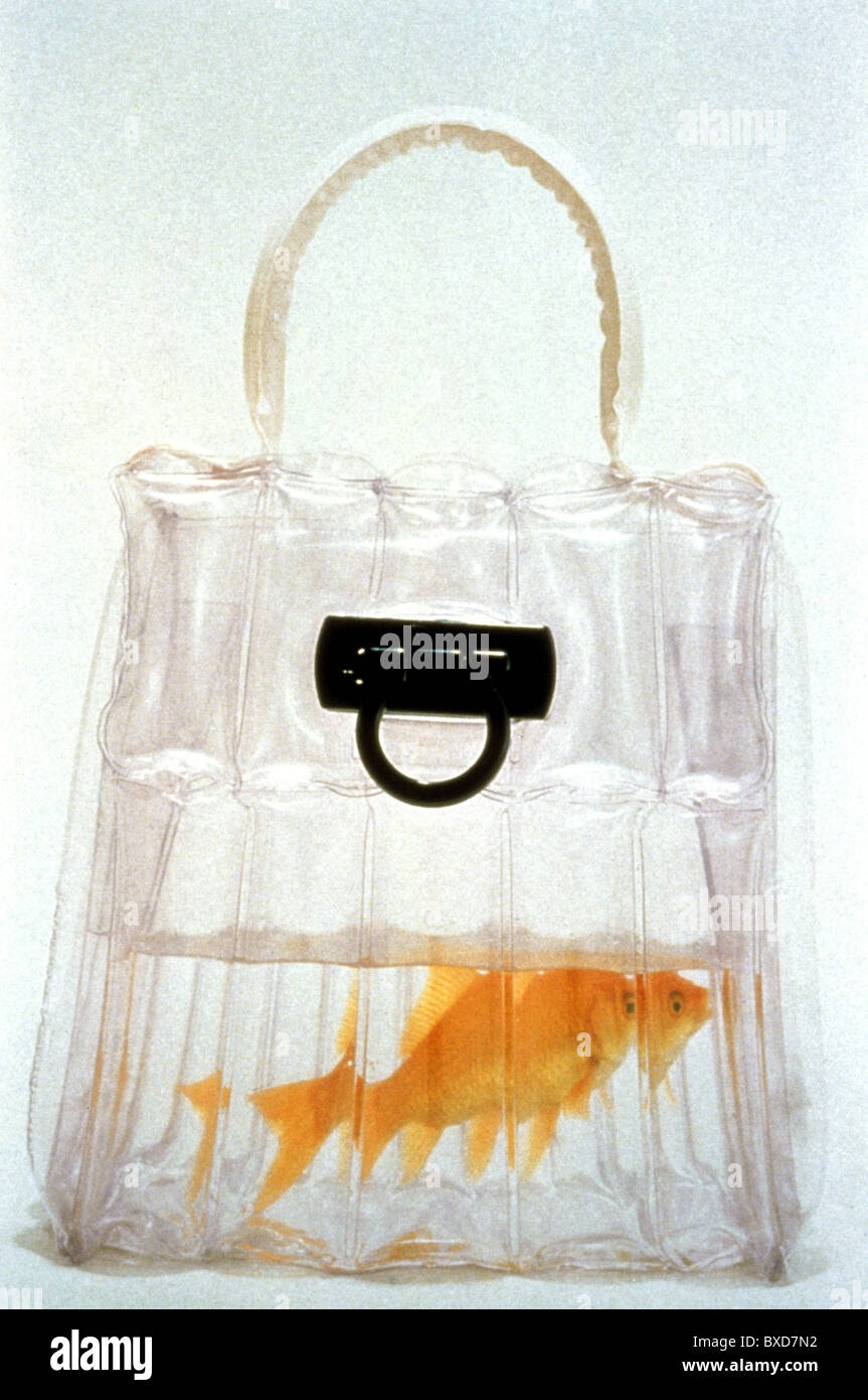 fashion, accessoires, plastic handbag with goldfish, by Salvatore Ferragamo, Florence, 1998, Additional-Rights-Clearences - Stock Image