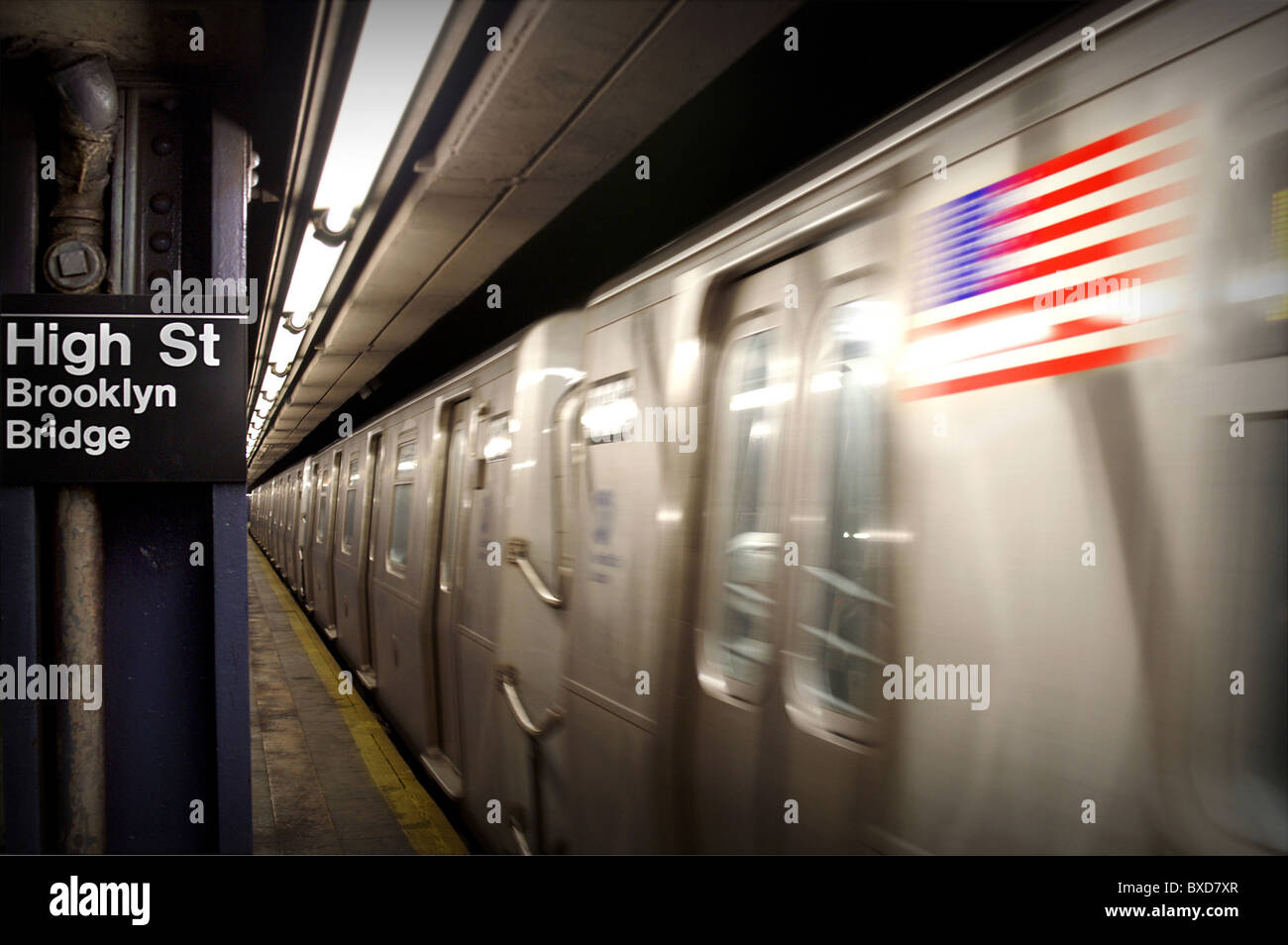 Brooklyn Bridge tube station, New York City - Stock Image