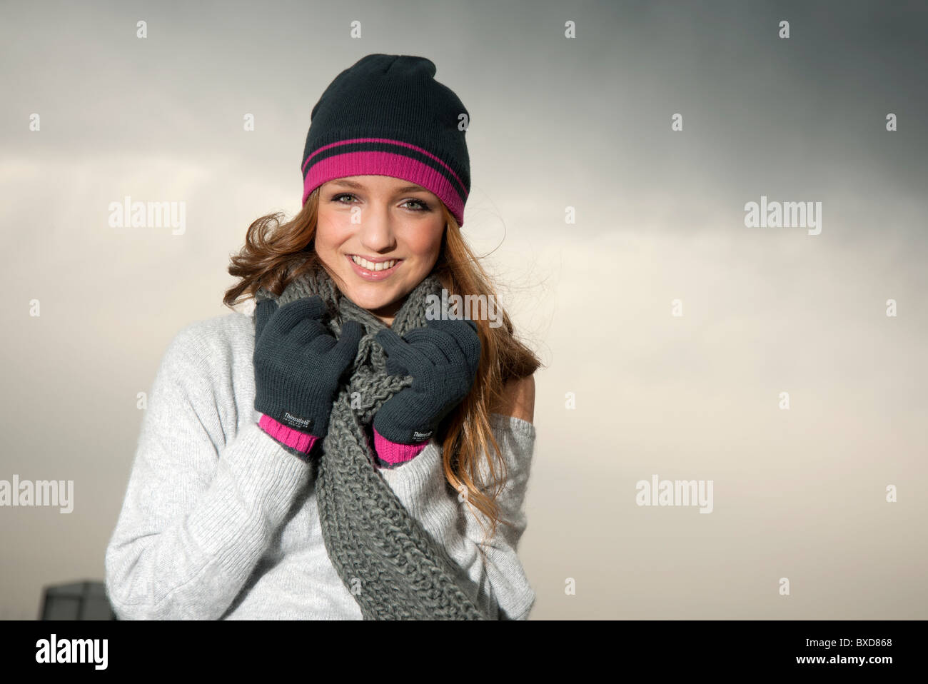 8f13a5178484ef young woman wearing wooly beanie hat , scarf & gloves , Autumn Stock ...