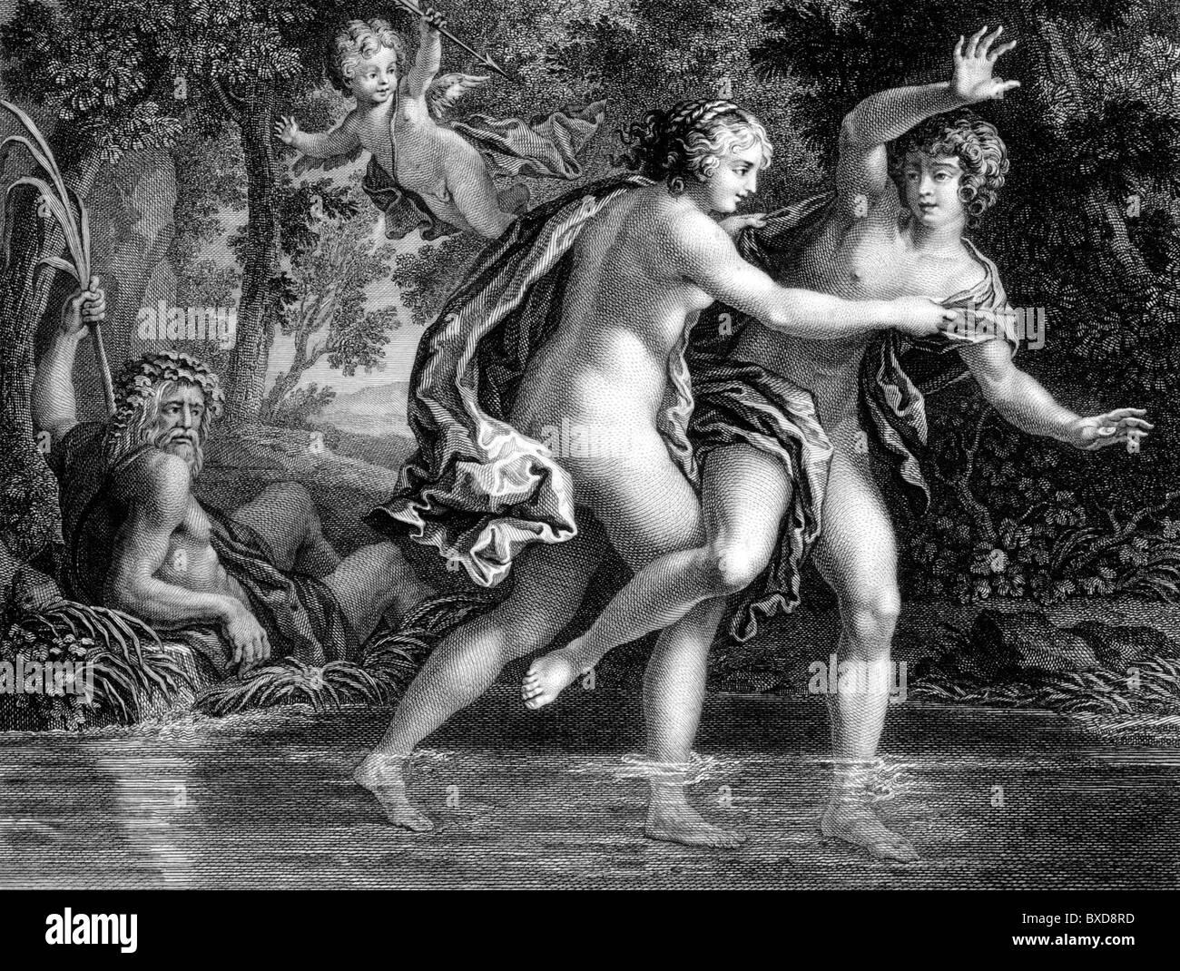 Salmacis & Hermaphroditus (c18th Engraving of Paiting by Paul Mattei) - Stock Image