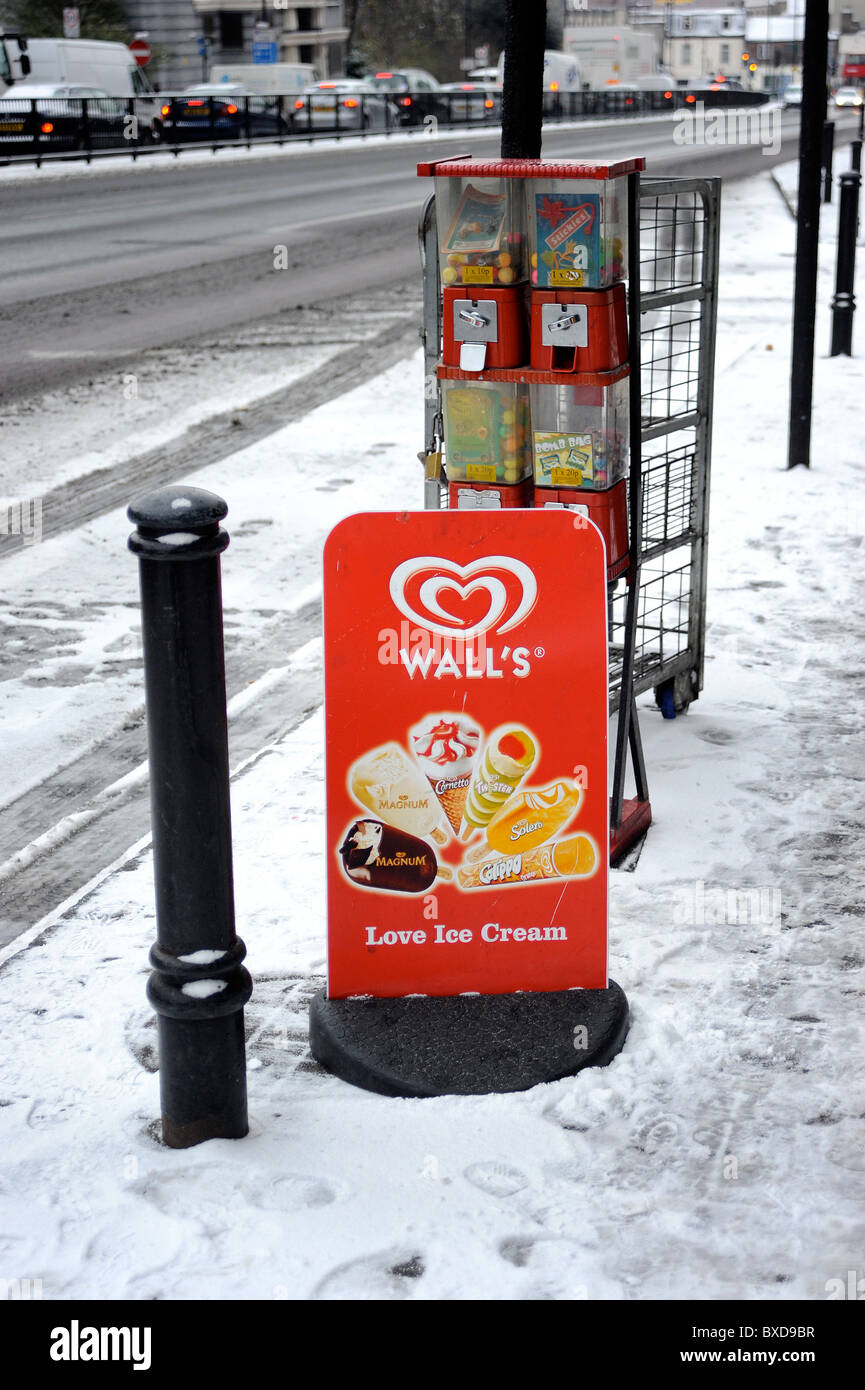Wall's Ice Cream Sign In the Snow, Archway North London - Stock Image