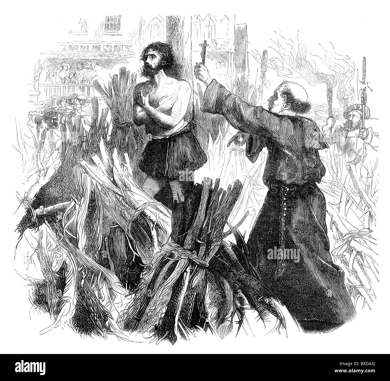 A Protestant Martyr being burned at the stake; Black and White Illustration; - Stock Image