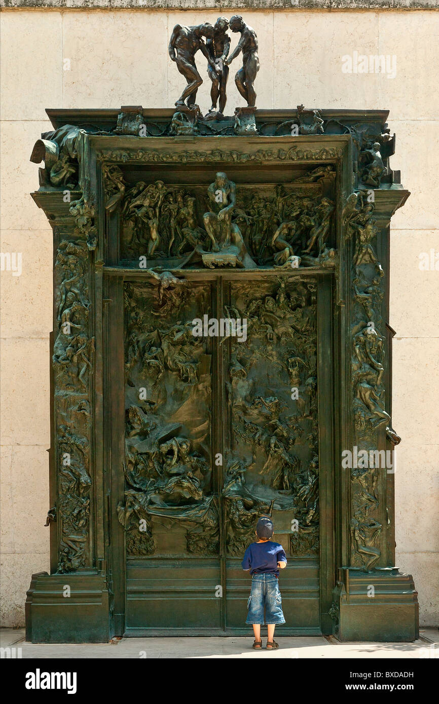 The Gates of Hell by Auguste Rodin located in musee Auguste Rodin, paris - Stock Image