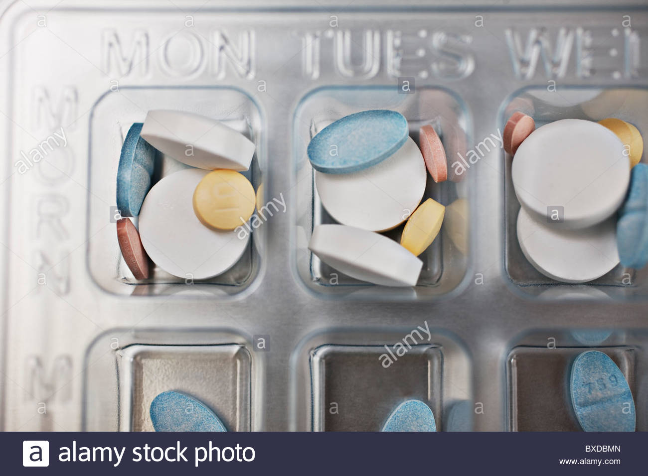 Close up of daily pill box - Stock Image