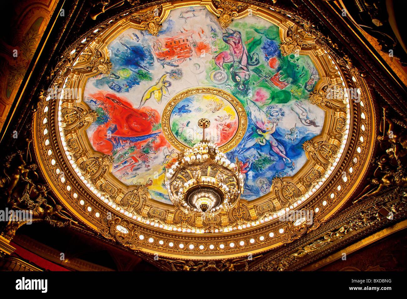 Opera National de Paris - Palais Garnier The ceiling of the Garnier opera house was painted by artist Marc Chagall - Stock Image