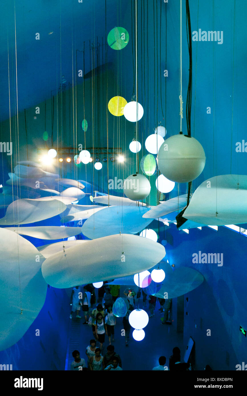 lighting and deco in the german pavillion on expo 2010 - Stock Image