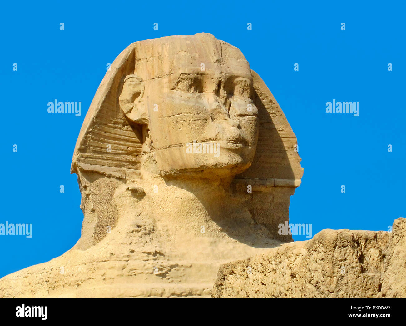 The Sphinx and Chefren Pyramid, Giza, Egypt - Stock Image
