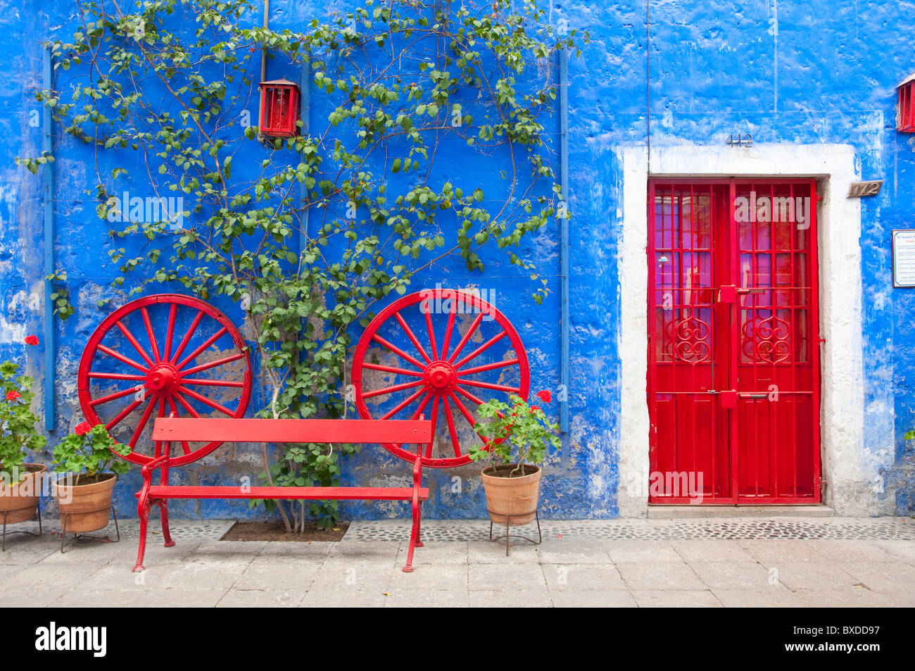 Colorful Courtyard With Red Doors And Blue Walls In Arequipa Peru