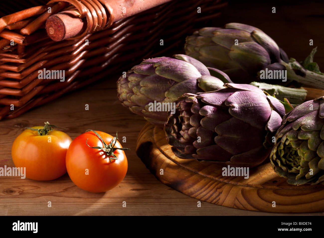 Artichokes and Tomatoes - Stock Image