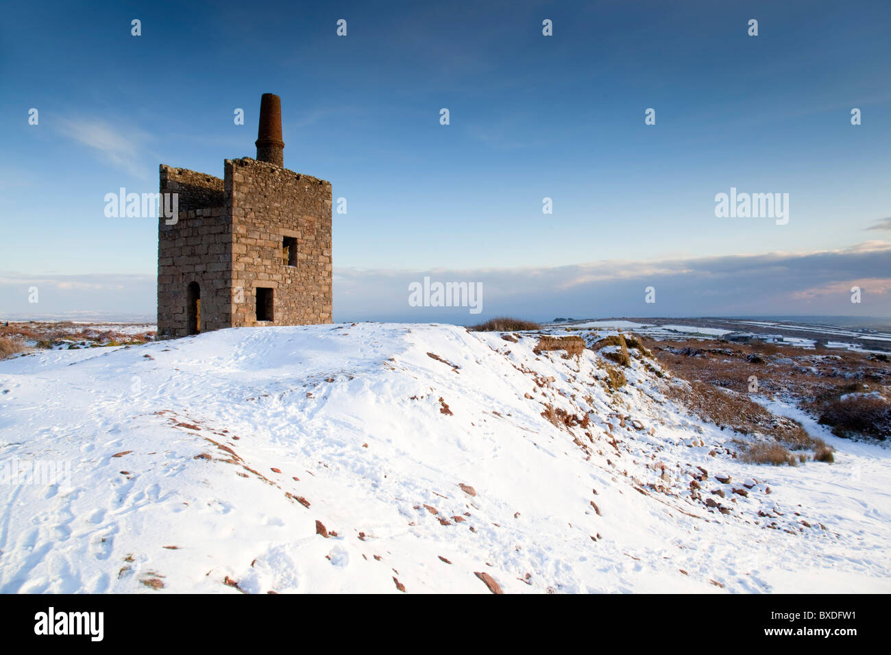 Ding Dong mine in snow; Cornwall - Stock Image