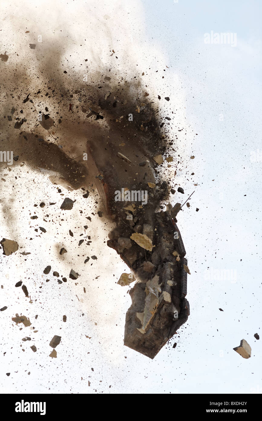 close view of debris from a building demolition - Stock Image
