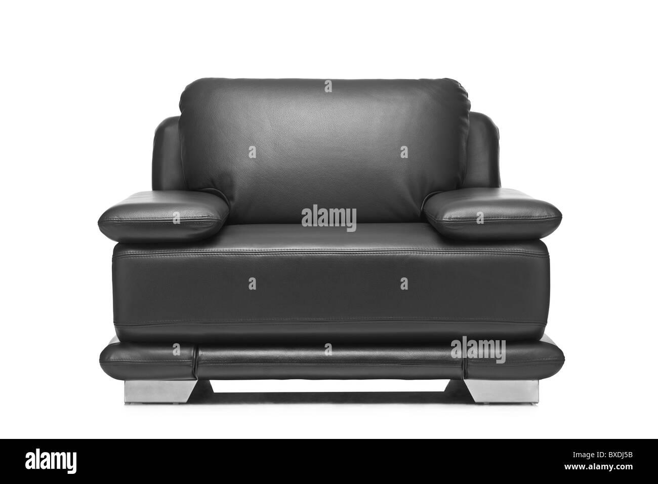 a studio shot of a leather black armchair BXDJ5B